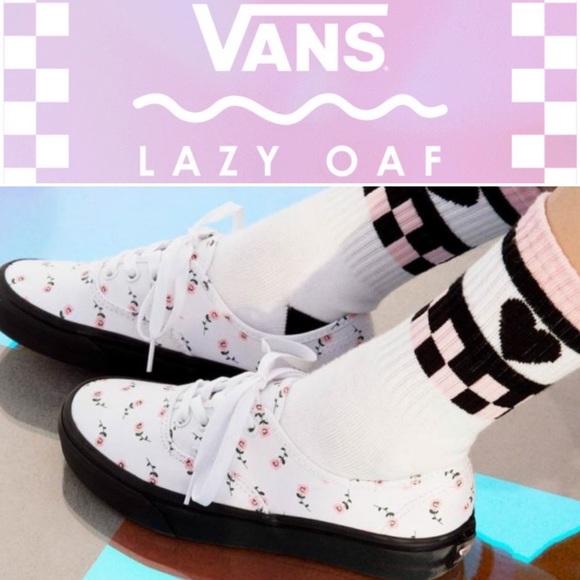 e231603e3395 Vans X Lazy Oaf Authentic Pink Rose Flower Sneaker